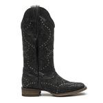 Bota Texana Feminina - Mustang Preto / Glitter Preto - Roper - Bico Quadrado - Cano Longo - Solado Nevada - Vimar Boots - 13103-F-VR
