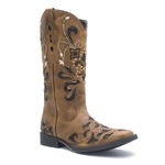 Bota Feminina - Fóssil Caramelo / Glitter Preto - Vimar Boots - 13104-E-VR
