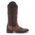 Bota Texana Feminina - Dallas Brown / Fóssil Caramelo - Roper - Bico Quadrado - Cano Longo - Solado Nevada - Vimar Boots - 13106-A-VR