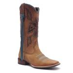 Bota Texana Feminina - Fóssil Caramelo / Castanho / Celeste - Roper - Bico Quadrado - Cano Longo - Solado Nevada - Vimar Boots - 13107-A-VR