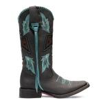 Bota Texana Feminina - Fóssil Preto / Celeste - Roper - Bico Quadrado - Cano Longo - Solado Freedom Flex - Vimar Boots - 13107-B-VR