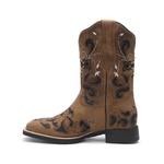 Bota Texana Feminina - Fóssil Caramelo / Glitter Preto - Roper - Bico Quadrado - Cano Curto - Solado VTS - Vimar Boots - 13112-A-VR
