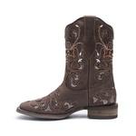 Bota Texana Feminina - Dallas Castor / Craquelé Bronze - Roper - Bico Quadrado - Cano Curto - Solado Nevada - Vimar Boots - 13112-B-VR