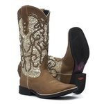 Bota Texana Feminina - Dallas Bambu / Craquelê Ouro - Roper - Bico Quadrado - Cano Longo - Solado Freedom Flex - Vimar Boots - 13113-A-VR