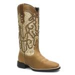 Bota Texana Feminina - Dallas Bambu / Craquelé Ouro - Roper - Bico Quadrado - Cano Longo - Solado VTS - Vimar Boots - 13113-C-VR
