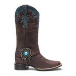 Bota Texana Feminina - Dallas Cator / Floral Havana - Roper - Bico Quadrado - Cano Longo - Solado Nevada - Vimar Boots - 13116-A-VR