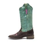 Bota Texana Feminina - Texas Café / Azul Dourado / Glitter Rosa - Roper - Bico Quadrado - Cano Longo - Solado Nevada - Vimar Boots - 13117-A-VR