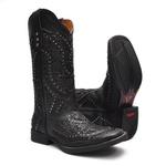 Bota Texana Feminina - Fóssil Preto / Craquelê Preto - Roper - Bico Quadrado - Cano Longo - Solado Freedom Flex - Vimar Boots - 13119-B-VR