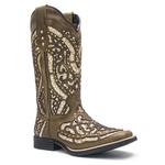 Bota Texana Feminina - Dallas Tabaco / Glitter Ouro - Roper - Bico Quadrado - Cano Longo - Solado Freedom Flex - Vimar Boots - 13119-C-VR