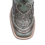 Bota Texana Feminina - Mustang Jeans / Craquelê Bronze - Roper - Bico Quadrado - Cano Longo - Solado Freedom Flex - Vimar Boots - 13119-D-VR