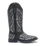 Bota Texana Feminina - Fóssil Preto / Glitter Preto com Prata - Roper - Bico Quadrado - Cano Longo - Solado Freedom Flex - Vimar Boots - 13119-E-VR