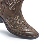 Bota Texana Feminina - Dallas Castor / Craquelé Bronze - Roper - Bico Quadrado - Cano Longo - Solado Freedom Flex - Vimar Boots - 13119-G-VR