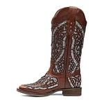 Bota Texana Feminina - Atlanta Café / Glitter Max Preto com Prata - Roper - Bico Quadrado - Cano Longo - Solado Nevada - Vimar Boots - 13119-H-VR