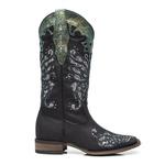 Bota Texana Feminina - Fóssil Preto / Craquelê Preto/Prata - Roper - Bico Quadrado - Cano Longo - Solado Nevada - Vimar Boots - 13120-A-VR