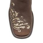 Bota Texana Feminina - Dallas Castor / Ouro / Glitter Ouro - Roper - Bico Quadrado - Cano Longo - Solado Freedom Flex - Vimar Boots - 13120-C-VR