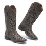 Bota Texana Feminina - Dallas Brown / Glitter Preto - Roper - Bico Quadrado - Cano Longo - Solado Nevada - Vimar Boots - 13123-B-VR