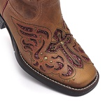 Bota Feminina - Caramelo / Glitter Vinho - Vimar Boots - 13123-C-VR