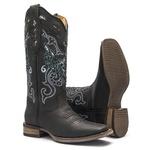 Bota Texana Feminina - Fóssil Preto / Glitter Max Preto com Prata - Roper - Bico Quadrado - Cano Longo - Solado Nevada - Vimar Boots - 13125-A-VR