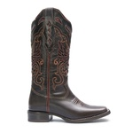 Bota Texana Feminina - Dallas Café / Glitter Max Vinho - Roper - Bico Quadrado - Cano Longo - Solado Nevada - Vimar Boots - 13125-B-VR