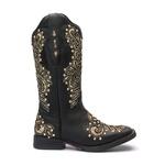 Bota Texana Feminina - Fóssil Preto / Craquelê Ouro - Roper - Bico Quadrado - Cano Longo - Solado Freedom Flex - Vimar Boots - 13136-A-VR