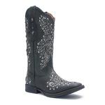 Bota Texana Feminina - Fóssil Preto / Glitter Preto com Prata - Roper - Bico Quadrado - Cano Longo - Solado Freedom Flex - Vimar Boots - 13136-B-VR