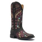 Bota Texana Feminina - Fóssil Preto - Roper - Bico Quadrado - Cano Longo - Solado VTS - Vimar Boots - 13137-A-VR