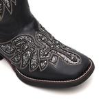 Bota Feminina - Fóssil Preto / Glitter Maxxi Preto com Prata - Freedom Flex - Vimar Boots - 13145-B-VR