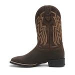 Bota Texana Masculina - Crazy Horse Café / Pinhão - Roper - Bico Quadrado - Cano Médio - Solado Nelore - Bulls Horse - 50026-B-BU