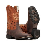 Bota Masculina Don't Mess With Texas - Crazy Horse Café | Bambu - Texas B - Bulls Horse - 50032-B-BU