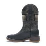 Bota Texana Masculina - Floather Preto / Grafite - Roper - Bico Quadrado - Cano Médio - Solado Strong Shock - Vimar Boots - 81266-A-VR