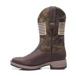 Bota Texana Masculina - Crazy Horse Café / Tabaco - Roper - Bico Quadrado - Cano Médio - Solado Strong Shock - Vimar Boots - 81267-A-VR