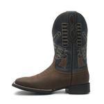 Bota Texana Masculina - Crazy Horse Café / Marinho - Roper - Bico Quadrado - Cano Médio - Solado Magnum Western - Vimar Boots - 81284-B-VR