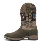 Bota Texana Masculina - Dallas Brown / Camuflado - Roper - Bico Quadrado - Cano Médio - Solado Strong Shock - Vimar Boots - 81286-A-VR