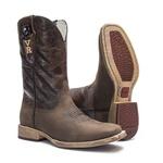 Bota Texana Masculina - Crazy Horse Café / Pinhão - Roper - Bico Quadrado - Cano Médio - Solado TXS - Vimar Boots - 81300-A-VR