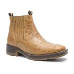 Botina Masculina - Avestruz Original Conhaque - Roper - Bico Quadrado - Cano Curto - Solado Strong Shock - Vimar Boots - 82081-J-VR