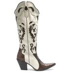 Bota Texana Feminina - Anaconda Verniz Café / Marfim - Western - Bico Fino - Cano Longo - Solado Colorplac - Vimar Boots - 10018-A-VR