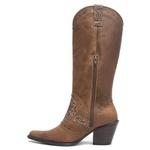 Bota Texana Feminina - Dallas Taupe / Havana - Western - Bico Fino - Cano Longo - Solado Colorplac - Vimar Boots - 10181-A-VR