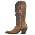 Bota Texana Feminina - Fóssil Castanho / Turquesa - Western - Bico Fino - Cano Longo - Solado Colorplac - Vimar Boots - 10194-A-VR