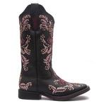Bota Texana Feminina - Mustang Preto / Pink - Roper - Bico Quadrado - Cano Longo - Solado Freedom Flex - Vimar Boots - 13065-B-VR