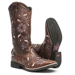 Bota Texana Feminina - Atlanta Café / Craquelê Rosa - Roper - Bico Quadrado - Cano Longo - Solado Freedom Flex - Vimar Boots - 13086-A-VR