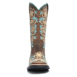 Bota Texana Feminina - Dallas Castor / Turquesa - Roper - Bico Quadrado - Cano Longo - Solado Freedom Flex - Vimar Boots - 13088-A-VR