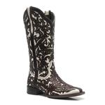 Bota ALINE KASSAB - Texana Feminina - Mustang Café / Marfim - Roper - Bico Quadrado - Cano Longo - Solado Nevada - Vimar Boots - 13103-A-VR
