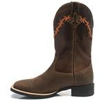 Bota Texana Masculina - Crazy Horse Café / Castanho - Roper - Bico Quadrado - Cano Médio - Solado Nelore - Bulls Horse - 50007-A-BU
