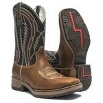 Bota Texana Masculina - Dallas Bambu / Marinho - Roper - Bico Quadrado - Cano Médio - Solado Strong Shock - Vimar Boots - 81230-A-VR