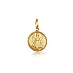 Pingente de Nossa Senhora aparecida Redonda mini em ouro 18k