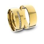 Alianças em Ouro 18K amarelo com Diamantes Anatômicas (7.00 mm de largura)