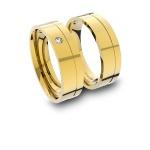 Alianças em Ouro 18K amarelo Anatômicas com Diamante (5.50 mm de largura)