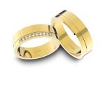 Alianças em Ouro 18k amarelo com Diamantes (5.70 mm de largura)