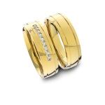 Alianças em Ouro 18K amarelo Anatômicas com Diamantes (5.50 mm de largura)