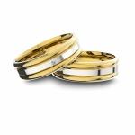 Alianças em Ouro 18K amarelo e Ouro 18K branco Anatômicas com Diamante (6.00 mm de largura)